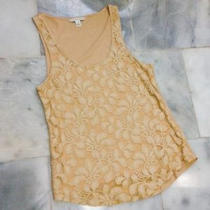 Banana republic tan tank top with lace front